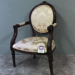 French Style Chair Antique Oak/ Oyster Damask